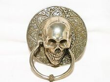 "SKULL RING KNOCKER ""SILVER PLATED BRONZE"" 12 X 5.5 X 8CM ""NEW"" AUZ SELLER"