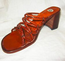 New $200 Artsy Slides Sandals 8 MADE IN ITALY - Heels Braided Leather by IXOS