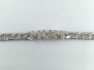 "925 Sterling Silver Solid Mum Bracelet Chain Cubic Zirconia 7.5"" Hallmarked"