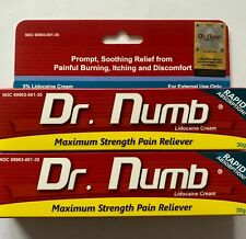 2x Dr Numb 5% Lidocaine Cream 30G Skin Numbing Tattoo, Waxing Expires 6/2022