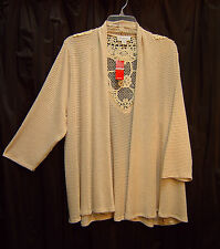 ECRU OPEN DRAPE FRONT LACE BACK CARDIGAN JACKET SWEATER WRAP TOP~22~24~2X~3X~NEW