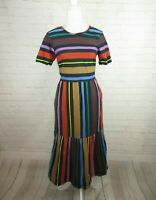 Chelsea & Theodore women's size M Vertical Striped Midi Dress Trumpet Colorful
