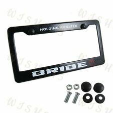 Black ABS License Plate Frame with Cap for Honda Civic Acura JDM BRIDE Racing x1