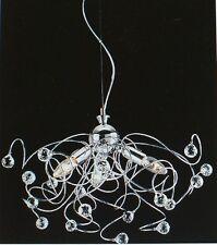 PLAFONIERA LAMPADARIO sfere cristallo MINA 3 L CROMATA moderna