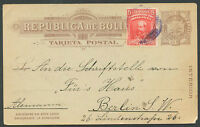 BOLIVIA TO GERMANY Postal Stationery 1909 VF