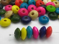 200 Mixed Colour Rondelle Wood Beads 12X5mm Flat Round Wooden Beads