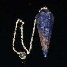50-55 MM Long Sodalite 6 Facet Dowsing Pendulum Reiki Healing Positive Energy