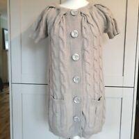Savida Beige Angora/Wool Mix Cable Knit Long Cardigan Size 12