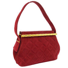 CHANEL Quilted CC Hand Bag Purse Red Suede 1858335 Authentic S07764j