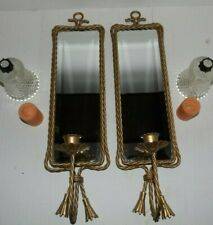 Pair Of Vintage Home Interior Twisted Rope Gold Sconces +Hobnail Votive Cups