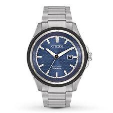 Citizen New W/ Tags Eco Drive Men's Titanium Blue Dial Bracelet Watch AW1450-89L