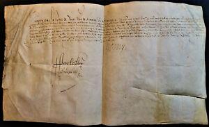 KING HENRI IV SIGNED REWARD FOR FRANCOIS DE BONNE LAST CONSTABLE OF FRANCE 1594