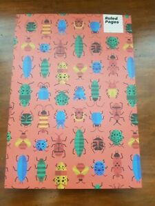 Paperchase Bugs Garden Insect themed A5 School Notebook Ruled / Lined Brand New