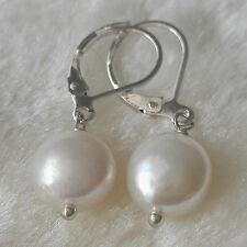 Schöne kultivierte 10-11mm weiße flache barocke Perle baumeln Ohrringe