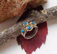Dichroic Glas, vergoldet, Blüte, blau, Ring, Ø 16,5 mm, 925 Sterling Silber, neu