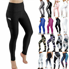 Women Fitness Compression Leggings Gym High Waist Yoga Pants With Pocket Stretch