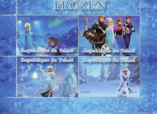 Chad 2014 CTO Frozen Elsa Olaf 4v M/S Disney Animation Cartoons Stamps