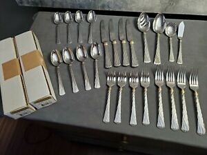 64 pcs Reed & Barton Atlantis Gold Flatware New in Box 18/8 Stainless Steel