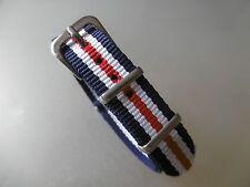 Uhrenarmband Nylon blau weiß rot  14 mm NATO BAND Dornschließe Textil
