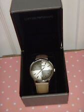 EMPORIO ARMANI Men Silver Watch AR2470 Taupe Leather Strap Textured Degrade Dial
