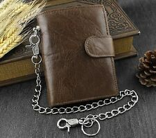 Men's Real Leather Biker Trucker Rock Money Coins Short Chain Wallet Purse Brown