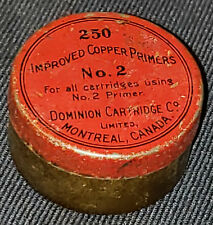 ANTIQUE DOMINION CARTRIDGE CO, MONTREAL - IMPROVED COPPER PRIMERS No.2 EMPTY TIN