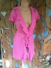 SIONI Studio PINK OPEN SWEATER Coat Long Cardigan Cover Up Sz M NWT$100
