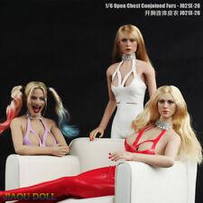 JO21X-26 1/6 Open Chest Leather Bodysuit Clothes Fit 12'' Female Figure Phicen