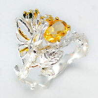 Wedding Anniversary Gift Natural Gemstone Citrine 925 Sterling Silver Ring/RVS80