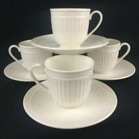 Lot of 4 Cups and Saucers Mikasa Italian Countryside Stoneware Ribbed DD900