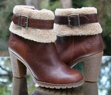 Timberland Women's Glancy Teddy Fleece Fold Down Boots Size 8 Brown A1A22