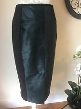 "New! Ted Baker "" Bellano"" Cow Hair On Hide/leather Pencil Midi Skirt 2/UK 10"