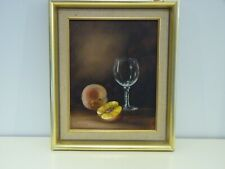 Original Oil Painting On Canvas Still Life, Glass and Peach by Jay Ward.