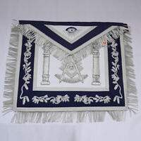 Masonic Past Master Hand Embroidered Silver Bullion Apron Navy Blue Velvet - WLC
