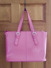 JACK GEORGES Large Pink Leather Laptop Satchel Work Tote Bag $285