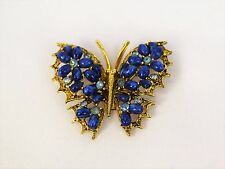 "Vintage Blue Cabochon Rhinestone Butterfly Pin Brooch Signed ART 1 5"" H x 2"" W"