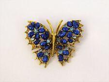 "Vintage Blue Cabochon Rhinestone Butterfly Pin Brooch Signed ART 1 5"" H x 2"" W"