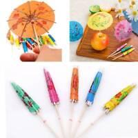 50pcs Paper Cocktail Parasols Umbrellas Drinks Picks Party Sticks Mixed Color
