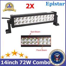 "2X 14""IN 72W Epistar Spot Flood LED Light Bar Lamp Jeep Boat SUV Driving Lamp TP"