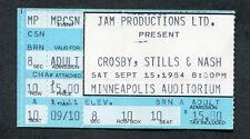 1984 Crosby Stills & Nash concert ticket stub Minneapolis Auditorium Cs&N