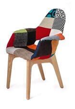 Poltrona sedia foderata tessuto Patchwork con gambe in legno multicolore ufficio