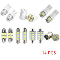 14Pcs White LED Interior Package Kit Fit T10 36mm Map Dome License Plate Lights