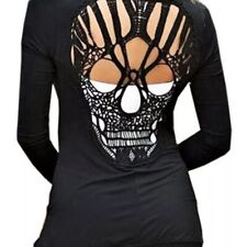Dragstrip clothing Women/'s cardigan grigio con alta qualità 13 SKULL RICAMO