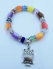 Multi-Colour Crystal Glass Bead with Owl Stretch Bracelet - JTY954