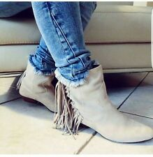 ZARA  NEW SAND FRINGED LEATHER BOOTS SIZE UK 6 EURO 39
