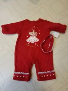 Okie Dokie 3-6 Month Baby Girls Red Fleece One Piece Make A Wish Outfit NWT