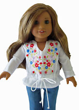 """For 18"""" American Girl Embroidered Boho Peasant Blouse Doll Clothes"""