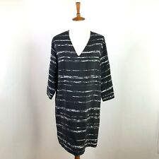 Vince 100% Silk Black White Striped V-Neck Tunic Dress Sz Small