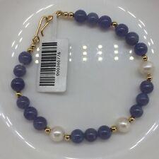 100% natural tanzanite stone+freshwater pearl +14kyg filled fancy style bracelet