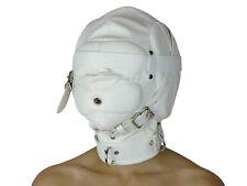 Leder Maske weiß geschlossen ohne Augenlöcher Isolationsmaske Ledermaske Nr.1684